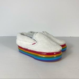 Vans Classic Slip-On Shearling Rainbow Sneakers